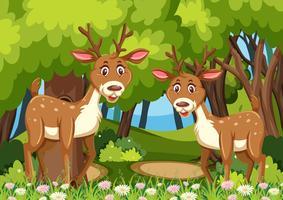 Due cervi nella scena dei boschi vettore