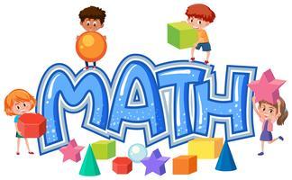 Gruppo di bambini sull'icona di matematica vettore