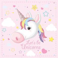 Fantasia Unicorno su sfondo rosa