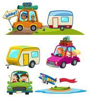 Un set di veicolo di viaggio vettore