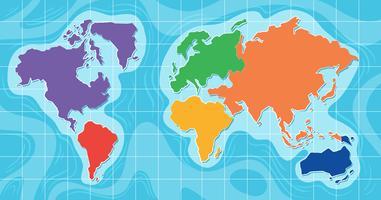 Veduta aerea della mappa del mondo vettore