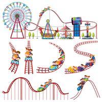 Una serie di fun park roller coaster vettore
