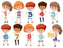 Un gruppo di bambini internazionali che tengono il numero vettore