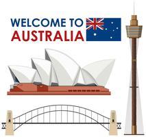Punto di riferimento dell'Australia su fondo bianco vettore