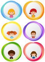 Disegni di etichetta con bambini felici