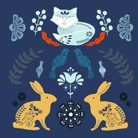 Modello di arte popolare scandinava con volpi e fiori vettore