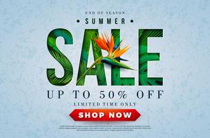 Progettazione di saldi estivi con Toucan Bird, foglie di palme tropicali e fiori su sfondo verde. Illustrazione di offerta speciale di vettore con elementi di vacanze estive per coupon