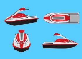 Vector l'illustrazione dell'insieme di vettore del jet ski isolato su fondo blu.