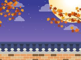 Mid Autumn Festival (Chuseok) - Recinzione muro in pietra in stile coreano con albero di acero e luna piena su sfondo vettore