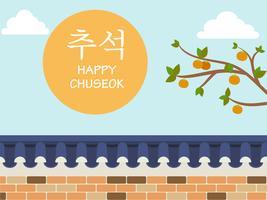 Mid Autumn Festival (Chuseok) - Recinzione muro in pietra in stile coreano con albero di cachi su sfondo vettore
