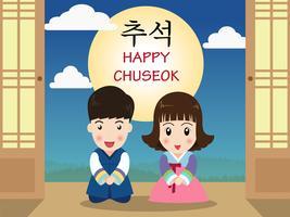 Chuseok o Hangawi (giorno del ringraziamento coreano) - Bambini simpatici cartoni animati in costume tradizionale coreano vettore