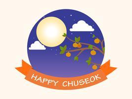 Chuseok o Hangawi (giorno del ringraziamento coreano) - luna piena e cachi sullo sfondo dell'albero vettore