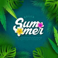 Vector Ciao illustrazione di estate con la lettera di tipografia e foglie di palme tropicali su sfondo blu. Banner di piante esotiche e fiori per vacanze