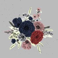 vettore disegnato a mano bouquet floreale set