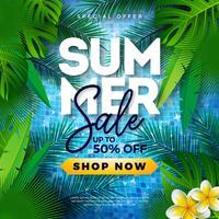 Progettazione di saldi estivi con palme tropicali e fiori su sfondo blu. Illustrazione di offerta speciale di vettore con elementi di vacanze estive