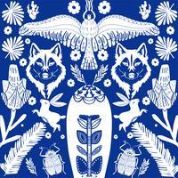 Modello di arte popolare scandinava con lupo e fiori