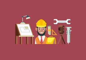 Illustrazione di vettore di Starter Pack di strumenti ingegnere