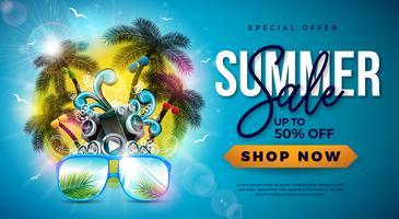 Estate vendita Design con palme e occhiali da sole su sfondo tropicale dell'isola. Illustrazione di offerta speciale di vettore con altoparlante e paesaggio blu dell'oceano