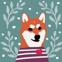 Il cane di Kawaii della razza di inu di shiba insegue il vettore di stile del fumetto