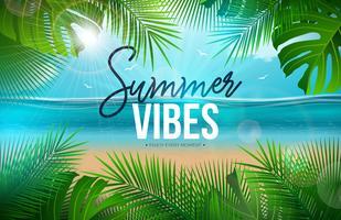 Vector l'illustrazione di vibrazioni dell'estate con le foglie di palma e la lettera di tipografia sul fondo del paesaggio dell'oceano blu. Vacanze estive Holiday Design