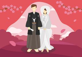 Illustrazione piana di vettore delle coppie di nozze del Giappone