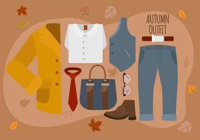 Illustrazione di vettore del pacchetto degli elementi essenziali di Autumn Man Fashion