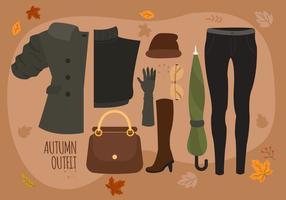 Illustrazione di vettore del pacchetto degli elementi essenziali di modo della donna di autunno