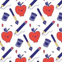 Modello carino con matita, mela, pennello e penna sulla scuola vettore