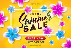 Estate vendita Design con fiori e tipografia lettera su sfondo giallo. Illustrazione vettoriale di vacanza con offerta speciale tipografia lettera per coupon