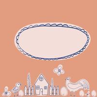 Personaggio dei cartoni animati di gallina felice in diverse pose isolato. Illustrazione piana di vettore del gallo e della gallina. Set colorato carino e divertente