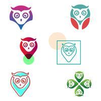 gufo pin navigatore creativo logo modello vettoriale illustrazione