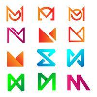 progettazione iniziale di logo della lettera m. per l'illustrazione di vettore di contabilità aziendale