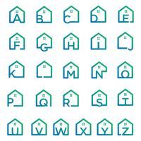 lettera az architetto, casa, modello di logo creativo di costruzione vettore