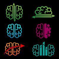 illustrazione vettoriale di cervello creativo logo modello di contabilità
