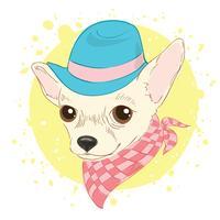 Illustrazione disegnata a mano di vettore del cane hipster per carte, stampa t-shirt, cartello. Adatti il ritratto del cappello e del foulard d'uso del cane della chihuahua.