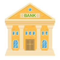 Illustrazione vettoriale di retro edificio bancario. Facciata di una casa classica in stile piatto. Edificio a due piani con banca.