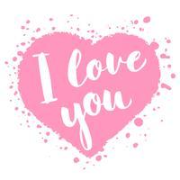 Carta di San Valentino con lettering disegnati a mano - Ti amo - e a forma di cuore astratto. Illustrazione romantica per volantini, manifesti, inviti per le feste, biglietti di auguri, stampe per t-shirt. vettore