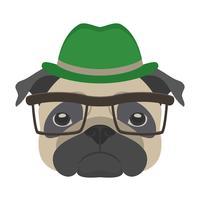 Ritratto di cane pug con occhiali e cappello in stile piatto. Illustrazione vettoriale di cane Hipster per carte, stampa t-shirt, cartello.