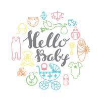 Saluto di celebrazione della doccia del bambino e modello della carta dell'invito con il letterin della mano