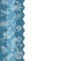 Motivo ripetitivo verticale con prodotti ittici. Insegna senza cuciture dei frutti di mare con gli animali subacquei di contorno. Progettazione di piastrelle per menu di ristoranti, industrie ittiche o market shop.