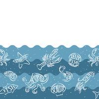 Ripetizione orizzontale con prodotti a base di pesce. Insegna senza cuciture dei frutti di mare con gli animali subacquei. Progettazione di piastrelle per ristorante, industria ittica o market shop.