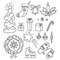 Set di Natale di scarabocchi disegnati a mano in stile semplice. Illustrazione di contorno vettoriale