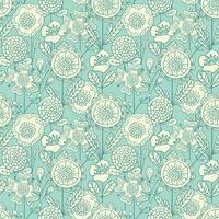 Vector seamless colorato sfondo floreale. Modello di fiori disegnato a mano di scarabocchio per il libro da colorare, progettazione del tessuto, carta da parati, scrapbooking.