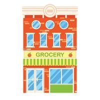 Illustrazione vettoriale di edificio retrò con negozio di alimentari. Facciata di una casa retrò in stile piatto. Edificio a tre piani con alimentari.