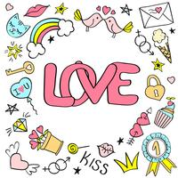 Biglietto di auguri, poster con lettere d'amore e disegnati a mano scarabocchi girly per San Valentino o compleanno.