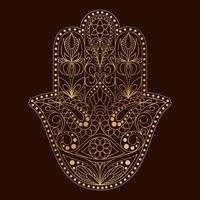 Simbolo Hamsa disegnato a mano. Mano di Fatima. Amuleto etnico comune nelle culture indiane, arabe ed ebraiche. vettore