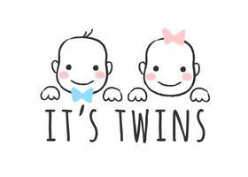 Illustrazione di vettore abbozzato con facce e iscrizioni di bambino ragazzo e ragazza - E 'gemelli - per carta di baby shower, stampa t-shirt o poster.