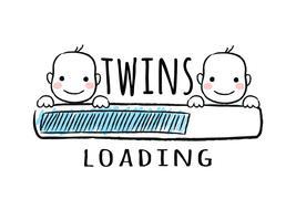 Indicatore di stato con scritta - I gemelli che caricano e ragazzi neonati sorridono facce in stile abbozzato. Illustrazione vettoriale per design t-shirt, poster, carta, decorazione baby shower