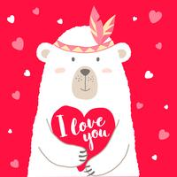 Vector l'illustrazione dell'orso sveglio del fumetto che tiene l'iscrizione del cuore e della mano Ti amo per la carta dei biglietti di S. Valentino, i cartelli, le stampe della maglietta, cartoline d'auguri. Saluto di San Valentino.