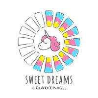 Barra di avanzamento con iscrizione - Sweet Dreams caricamento e unicorno in stile abbozzato. Illustrazione vettoriale per design t-shirt, poster o carta.